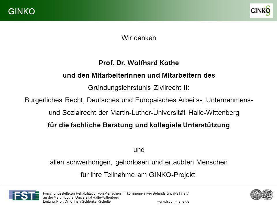GINKO Wir danken Prof. Dr. Wolfhard Kothe