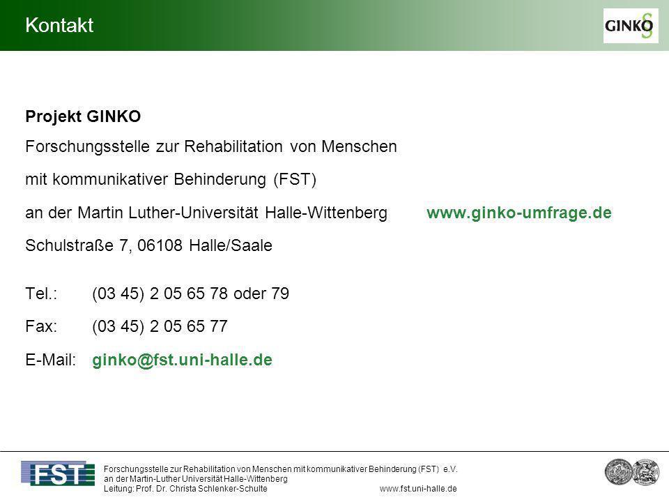 Kontakt Projekt GINKO Forschungsstelle zur Rehabilitation von Menschen