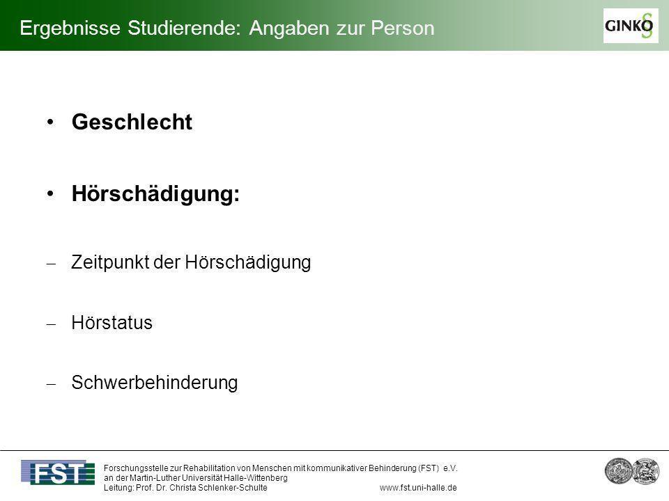 Ergebnisse Studierende: Angaben zur Person