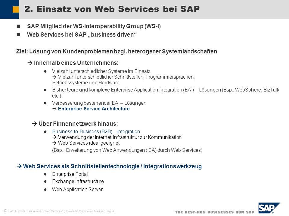 2. Einsatz von Web Services bei SAP