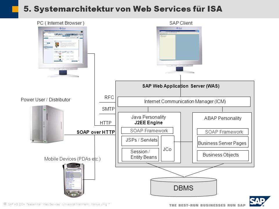 5. Systemarchitektur von Web Services für ISA