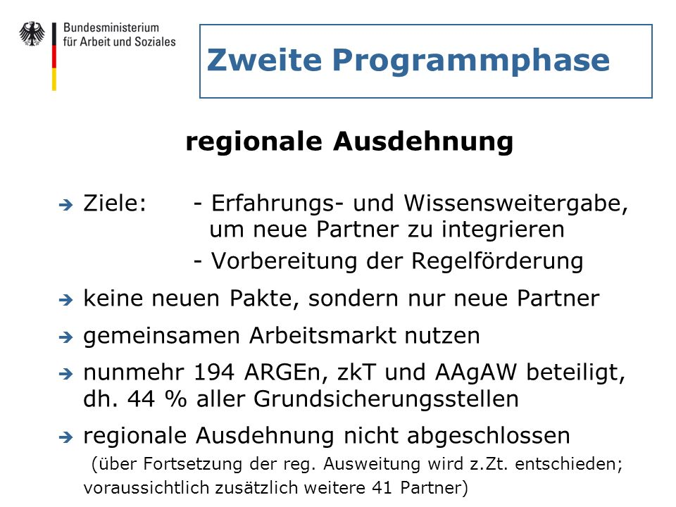 Zweite Programmphase regionale Ausdehnung