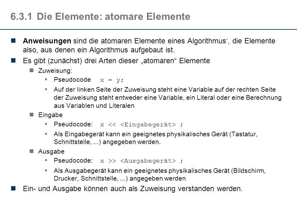 6.3.1 Die Elemente: atomare Elemente