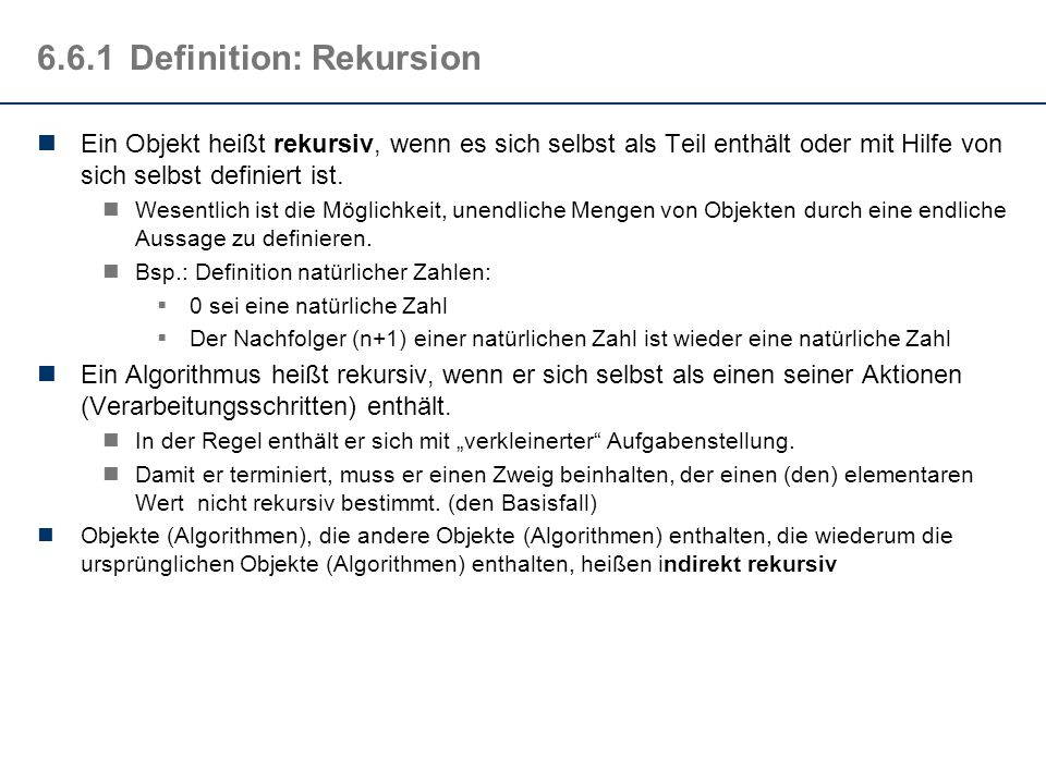 6.6.1 Definition: Rekursion