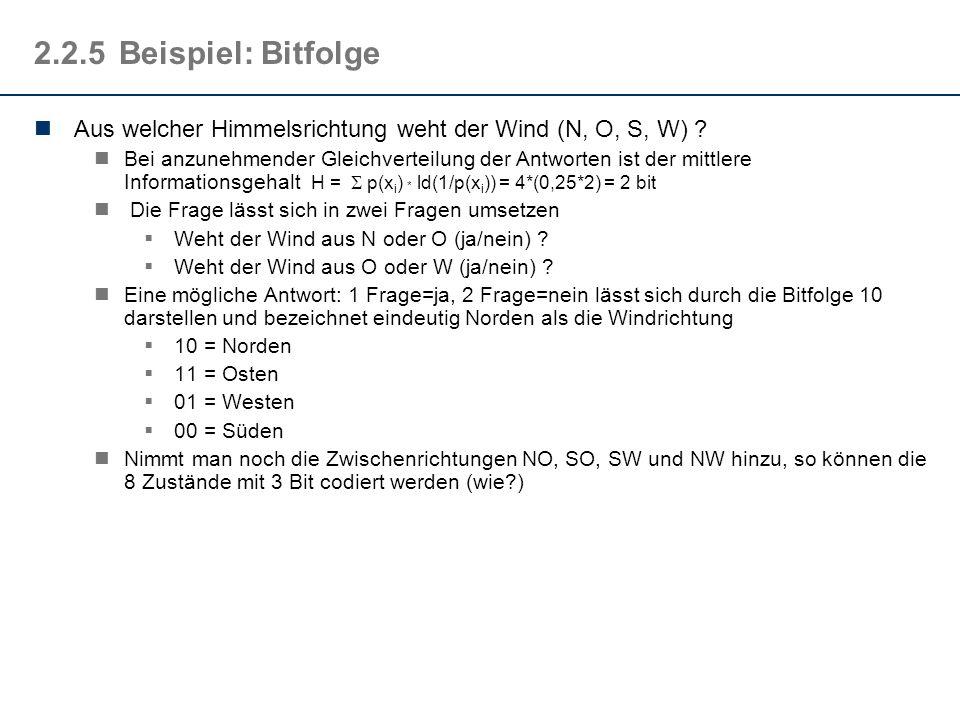 2.2.5 Beispiel: Bitfolge Aus welcher Himmelsrichtung weht der Wind (N, O, S, W)