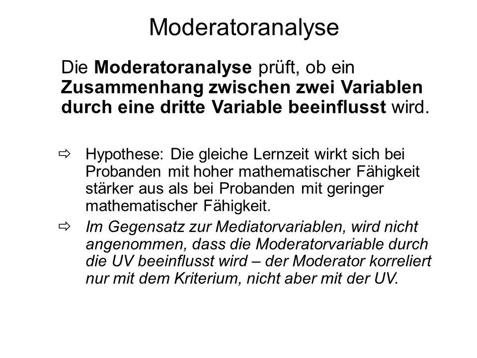 Moderatoranalyse Die Moderatoranalyse prüft, ob ein Zusammenhang zwischen zwei Variablen durch eine dritte Variable beeinflusst wird.