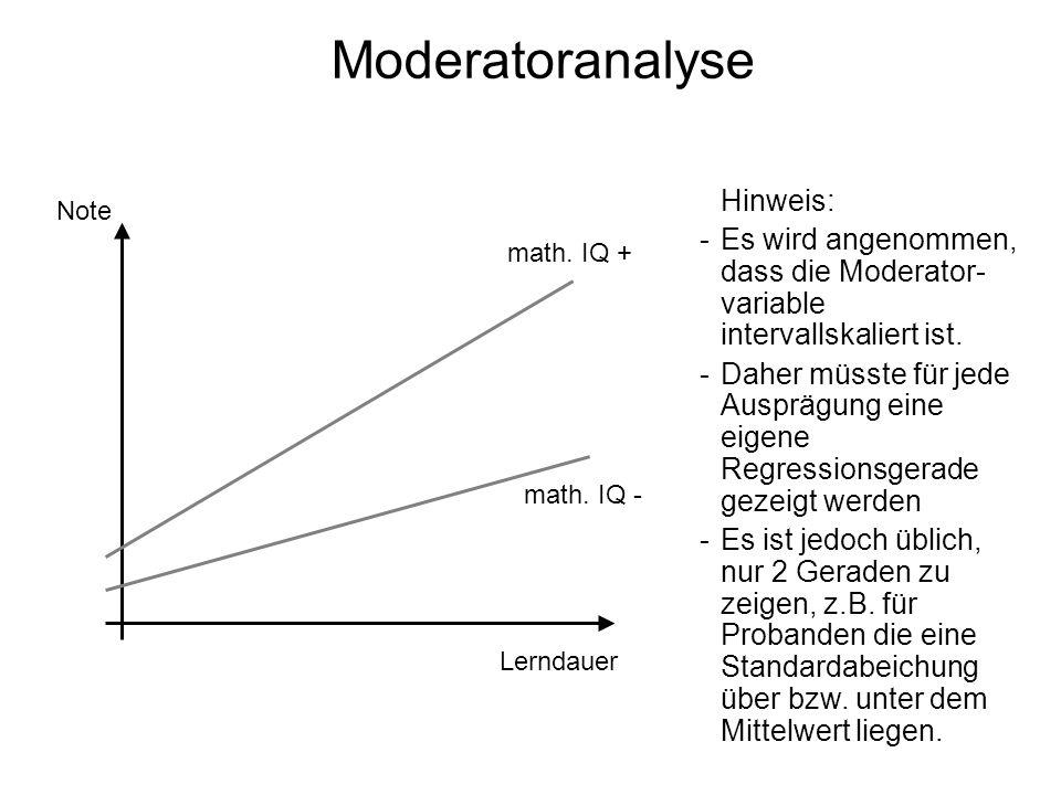Moderatoranalyse Hinweis: Es wird angenommen, dass die Moderator-variable intervallskaliert ist.