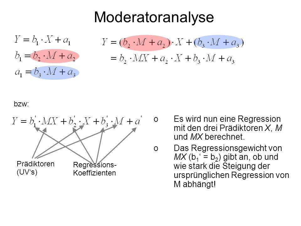 Moderatoranalyse bzw: Es wird nun eine Regression mit den drei Prädiktoren X, M und MX berechnet.