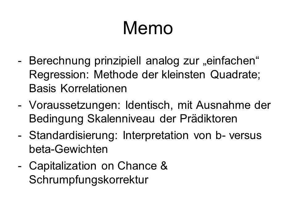 """Memo Berechnung prinzipiell analog zur """"einfachen Regression: Methode der kleinsten Quadrate; Basis Korrelationen."""