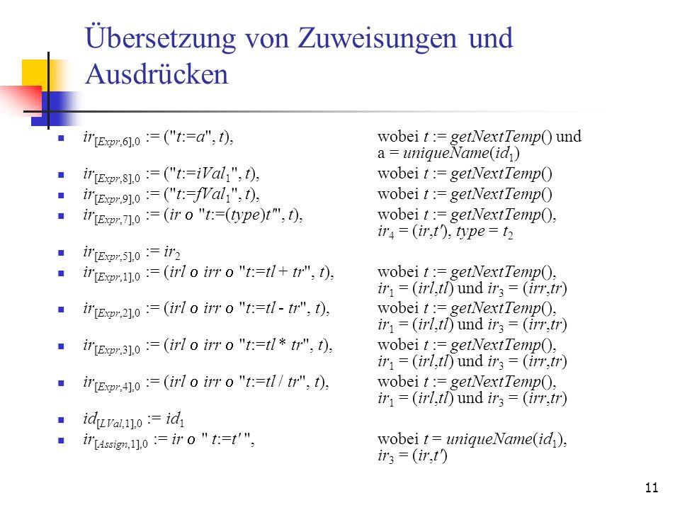 Übersetzung von Zuweisungen und Ausdrücken
