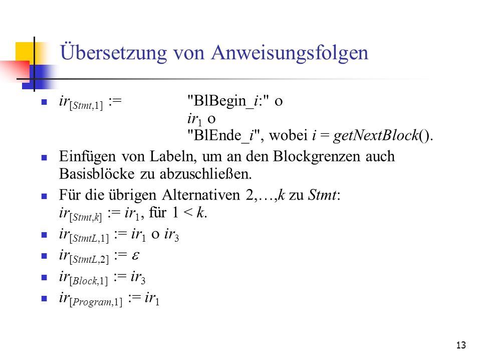 Übersetzung von Anweisungsfolgen