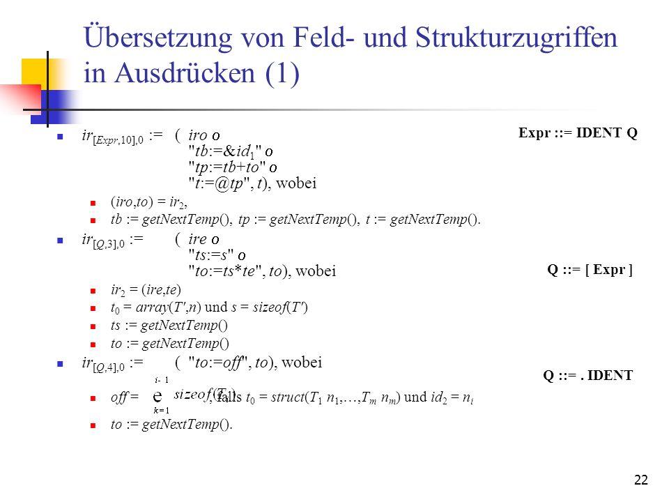 Übersetzung von Feld- und Strukturzugriffen in Ausdrücken (1)
