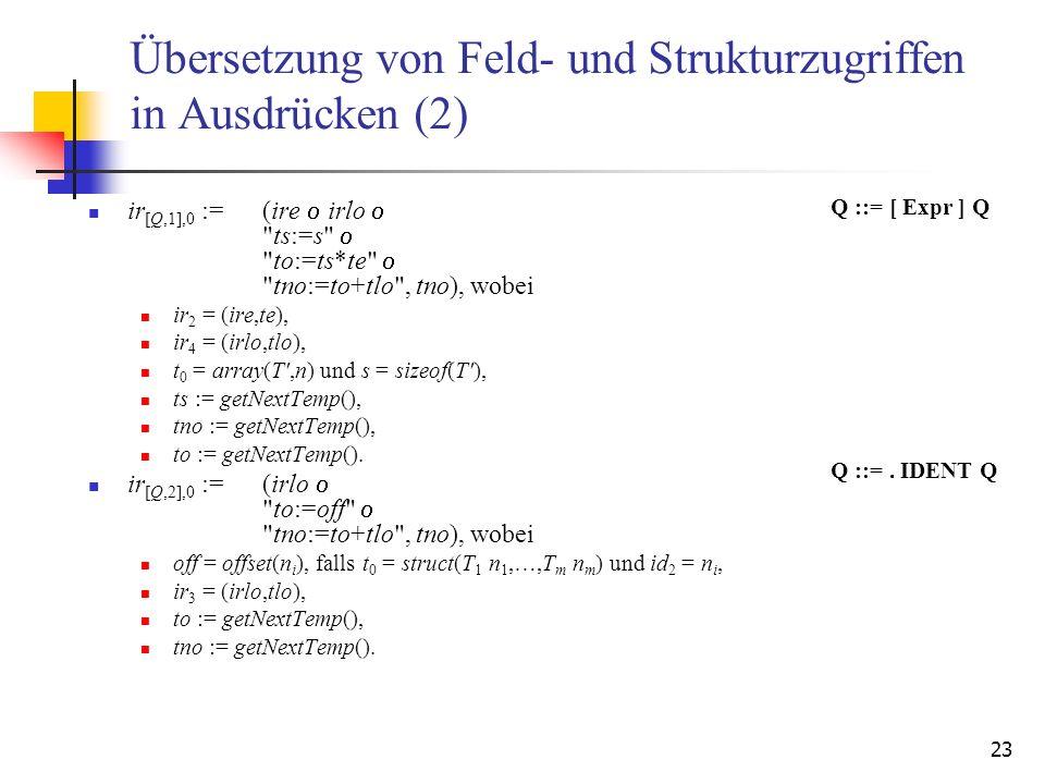 Übersetzung von Feld- und Strukturzugriffen in Ausdrücken (2)