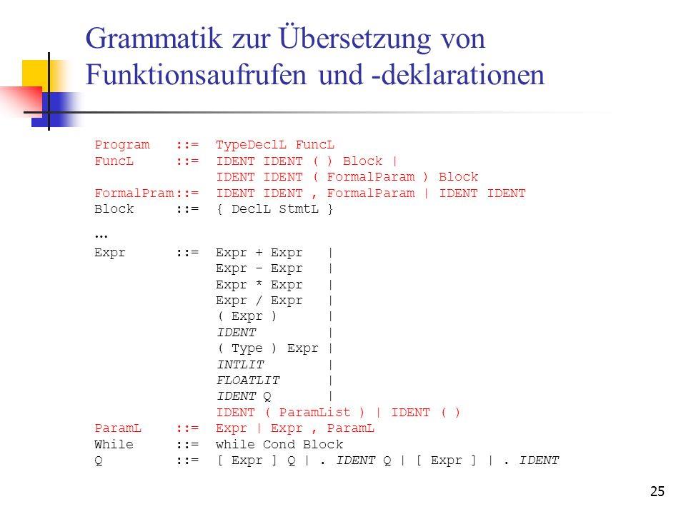 Grammatik zur Übersetzung von Funktionsaufrufen und -deklarationen