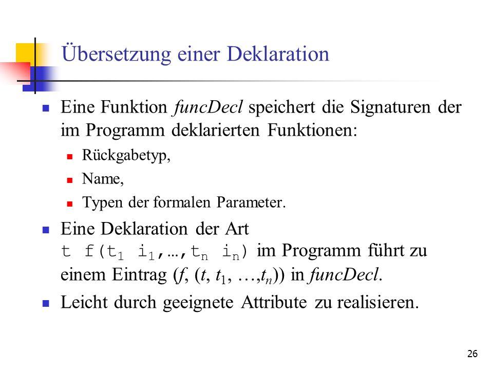 Übersetzung einer Deklaration