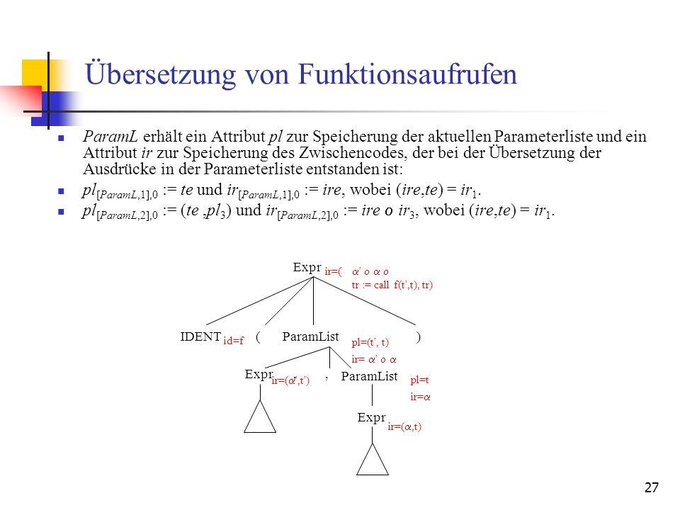 Übersetzung von Funktionsaufrufen