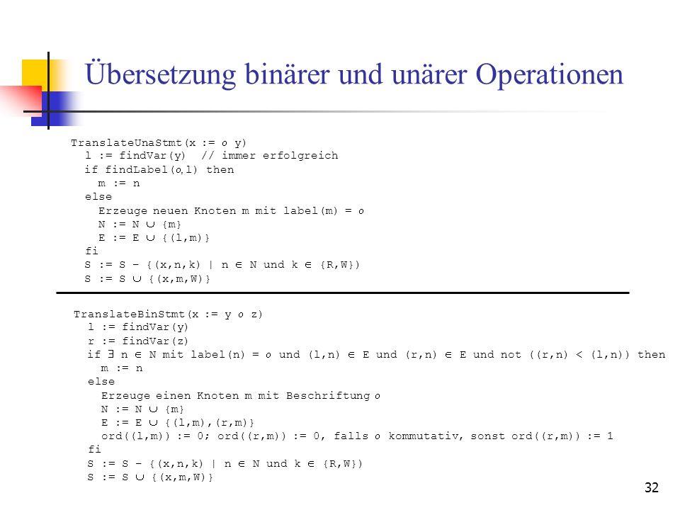 Übersetzung binärer und unärer Operationen