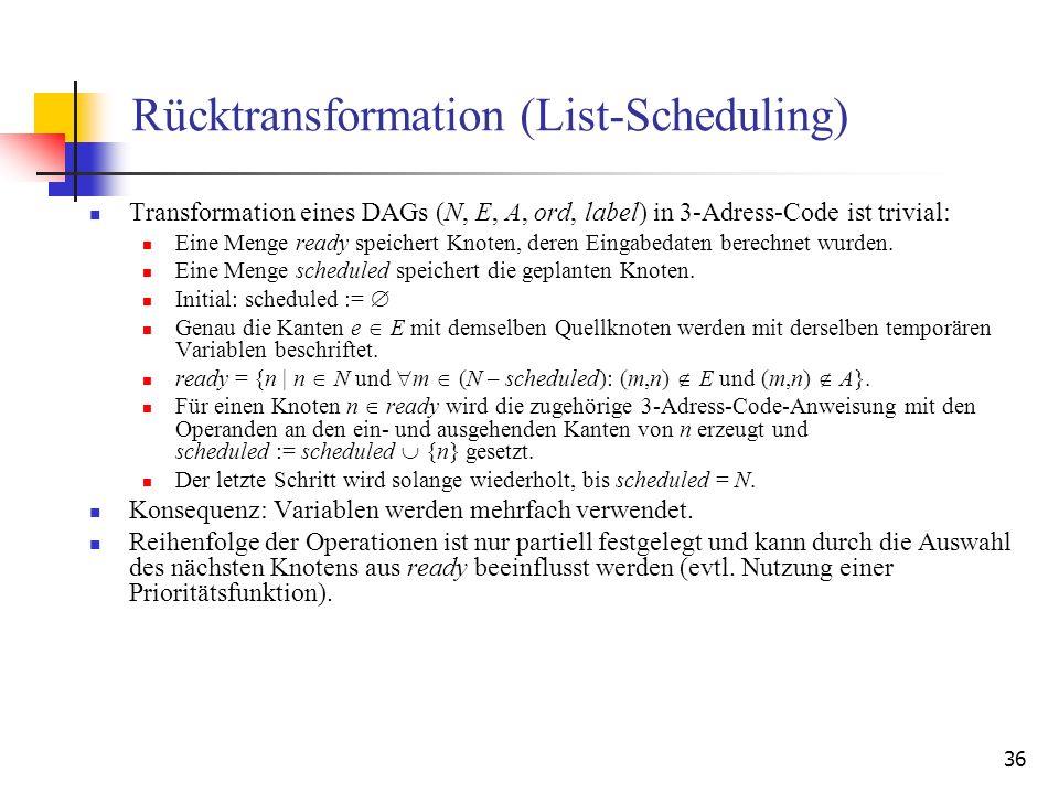 Rücktransformation (List-Scheduling)