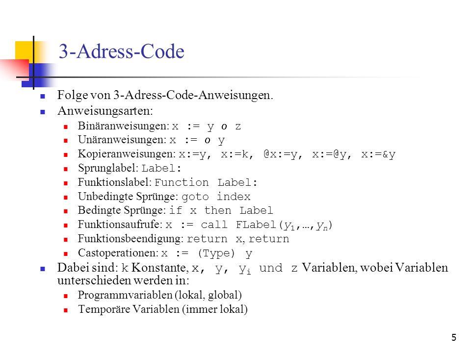 3-Adress-Code Folge von 3-Adress-Code-Anweisungen. Anweisungsarten: