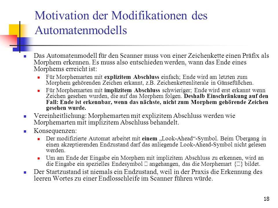Motivation der Modifikationen des Automatenmodells