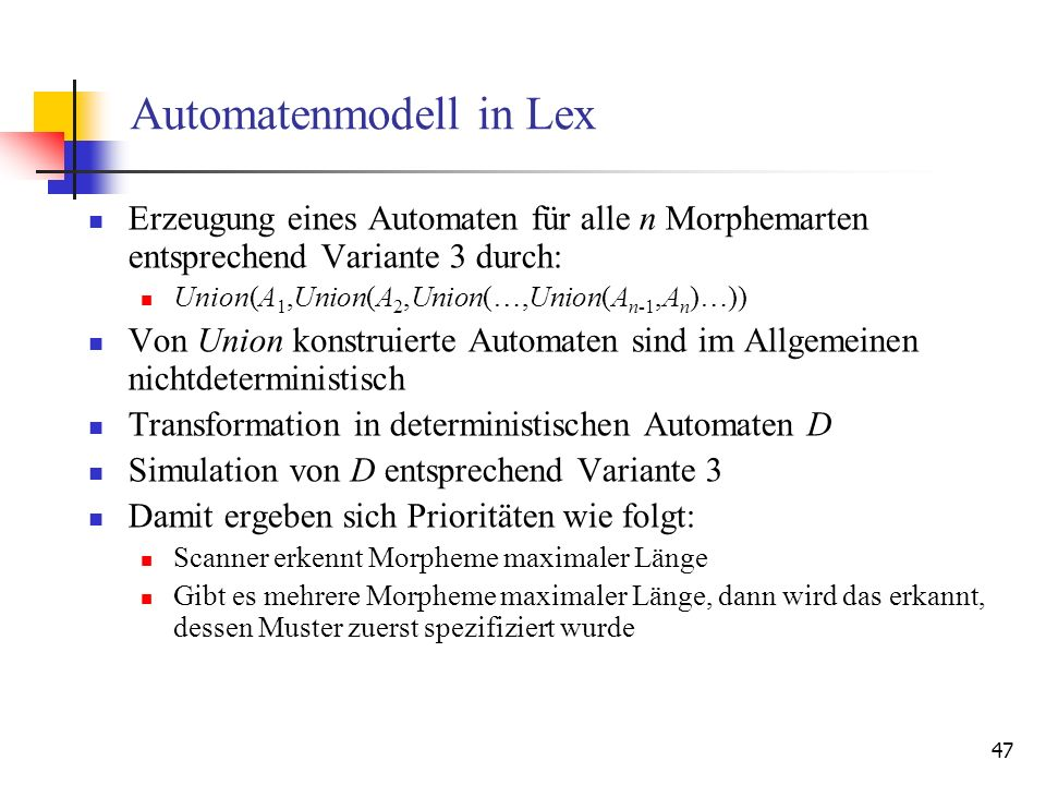 Automatenmodell in Lex