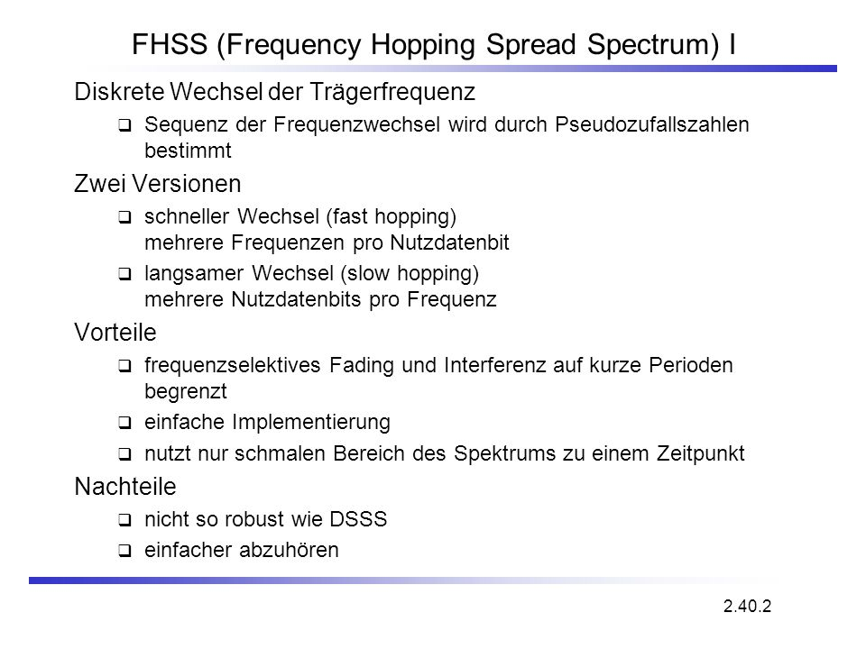 FHSS (Frequency Hopping Spread Spectrum) I