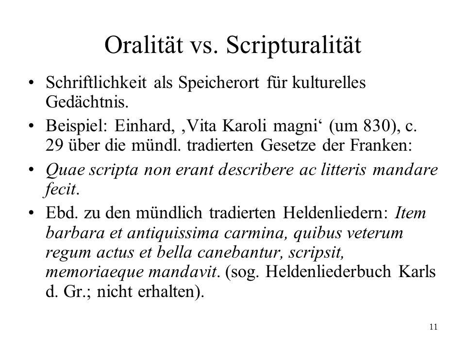 Oralität vs. Scripturalität