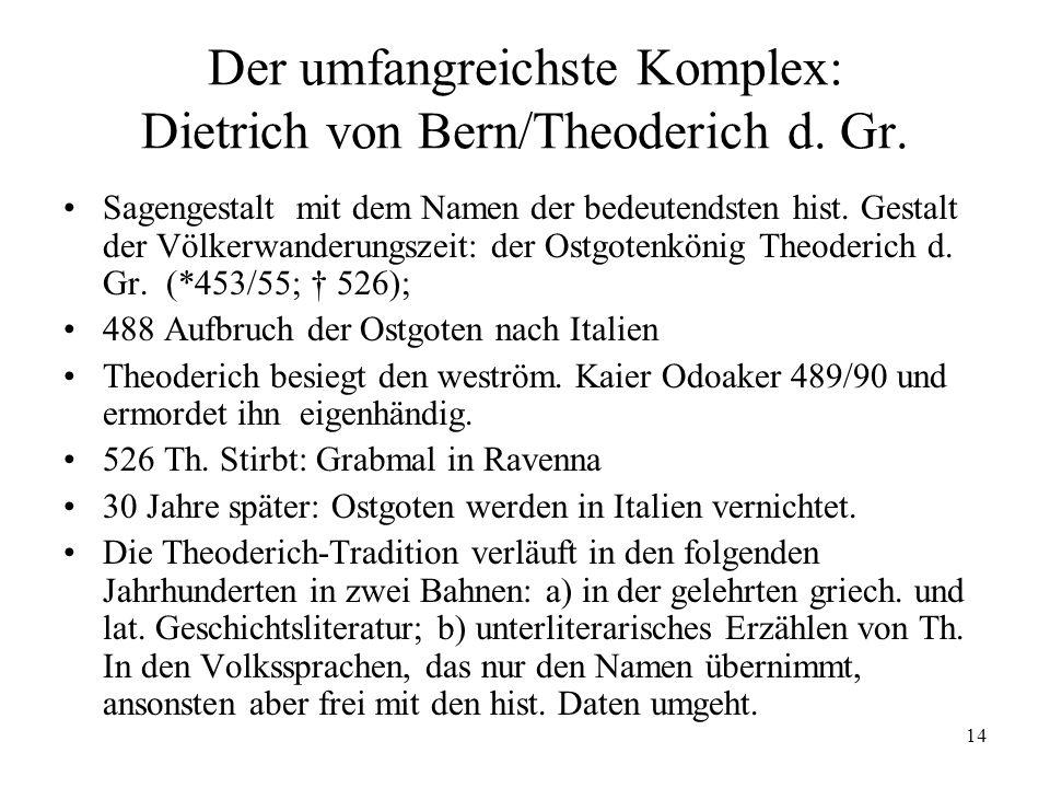 Der umfangreichste Komplex: Dietrich von Bern/Theoderich d. Gr.
