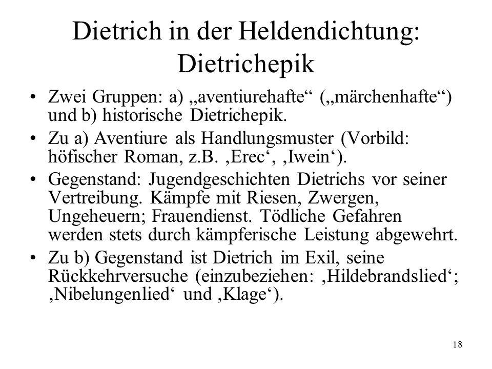 Dietrich in der Heldendichtung: Dietrichepik