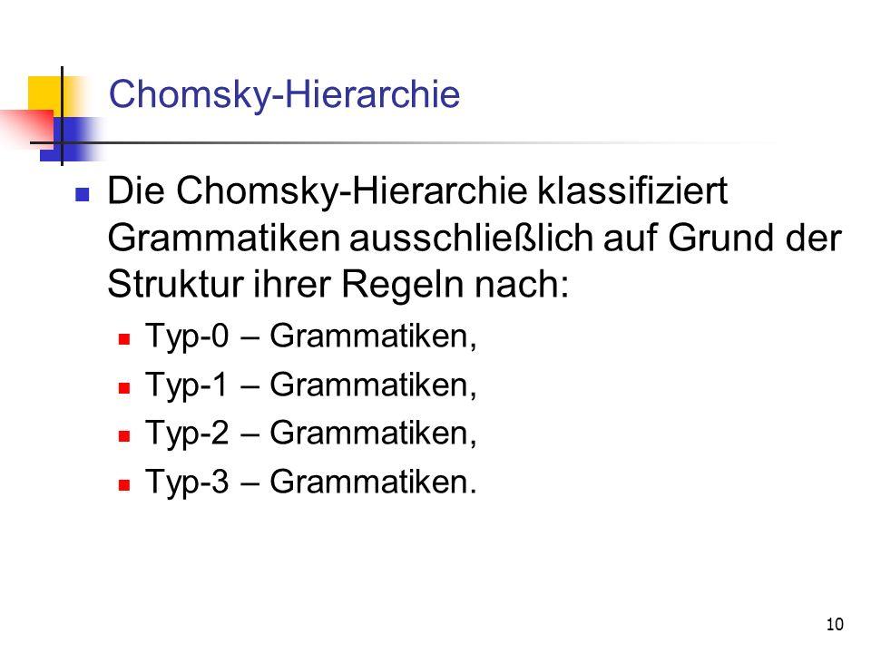 Chomsky-Hierarchie Die Chomsky-Hierarchie klassifiziert Grammatiken ausschließlich auf Grund der Struktur ihrer Regeln nach: