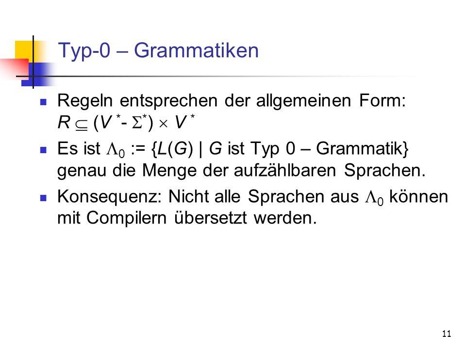 Typ-0 – Grammatiken Regeln entsprechen der allgemeinen Form: R  (V *- *)  V *