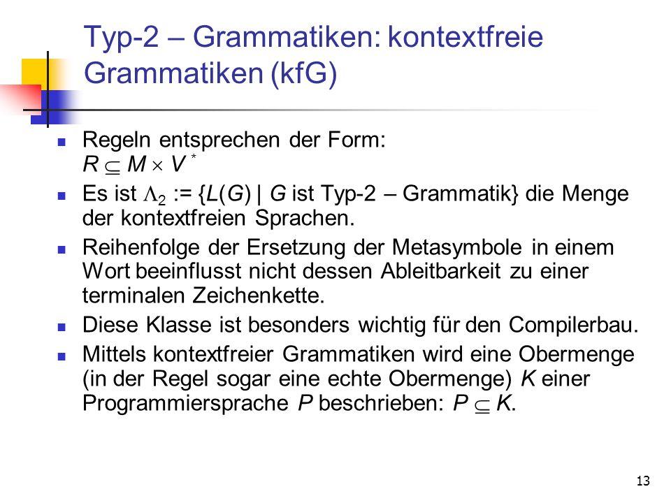 Typ-2 – Grammatiken: kontextfreie Grammatiken (kfG)