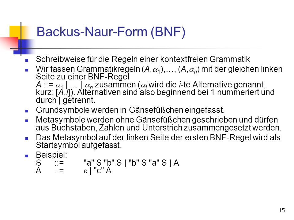 Backus-Naur-Form (BNF)