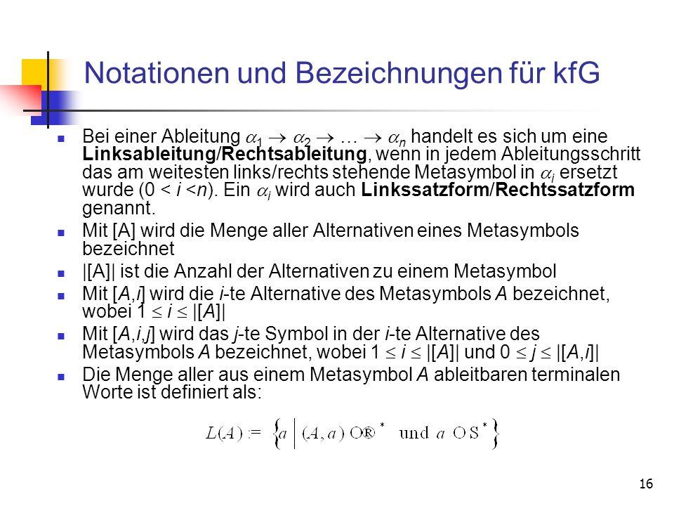 Notationen und Bezeichnungen für kfG