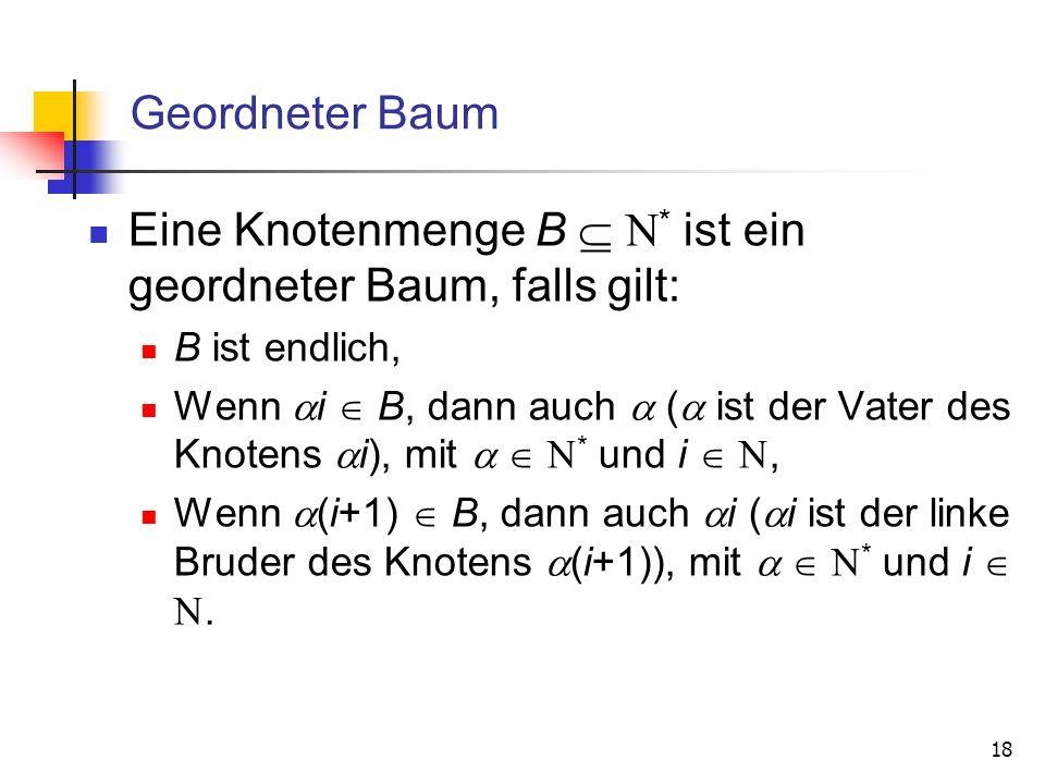 Eine Knotenmenge B  * ist ein geordneter Baum, falls gilt: