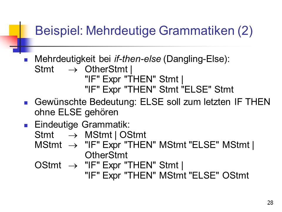 Beispiel: Mehrdeutige Grammatiken (2)