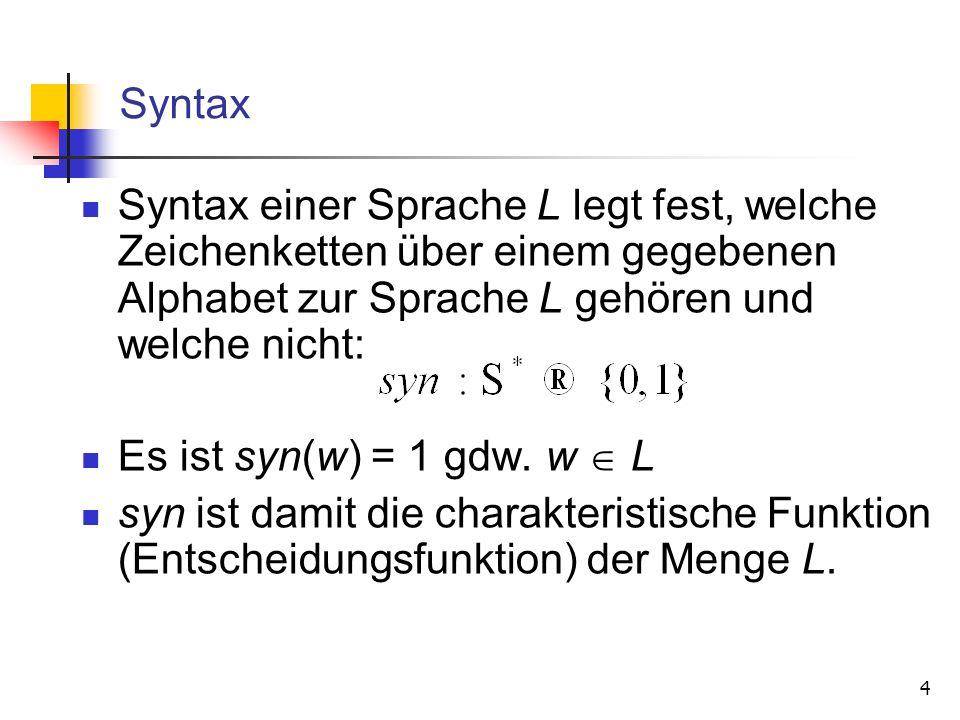 Syntax Syntax einer Sprache L legt fest, welche Zeichenketten über einem gegebenen Alphabet zur Sprache L gehören und welche nicht: