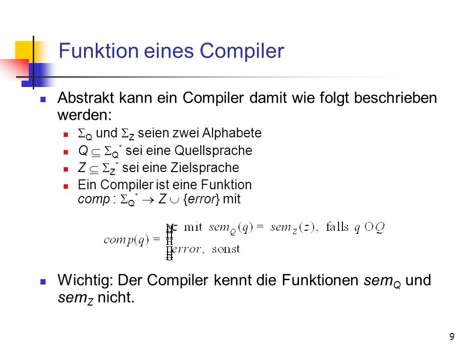 Funktion eines Compiler