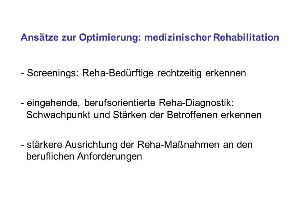 Ansätze zur Optimierung: medizinischer Rehabilitation