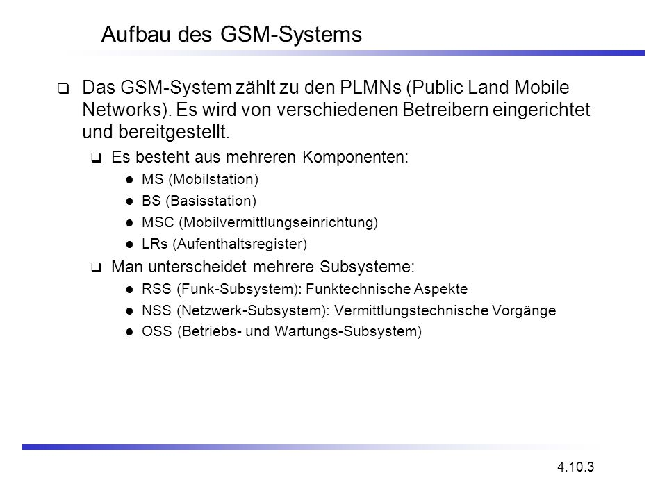 Aufbau des GSM-Systems