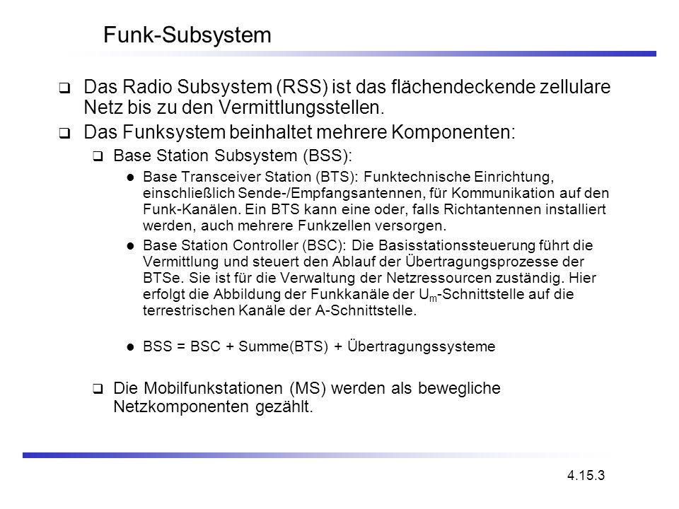 Funk-Subsystem Das Radio Subsystem (RSS) ist das flächendeckende zellulare Netz bis zu den Vermittlungsstellen.