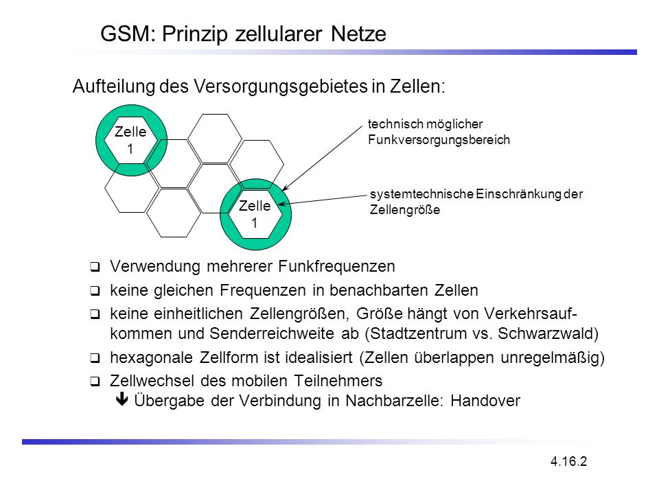 GSM: Prinzip zellularer Netze