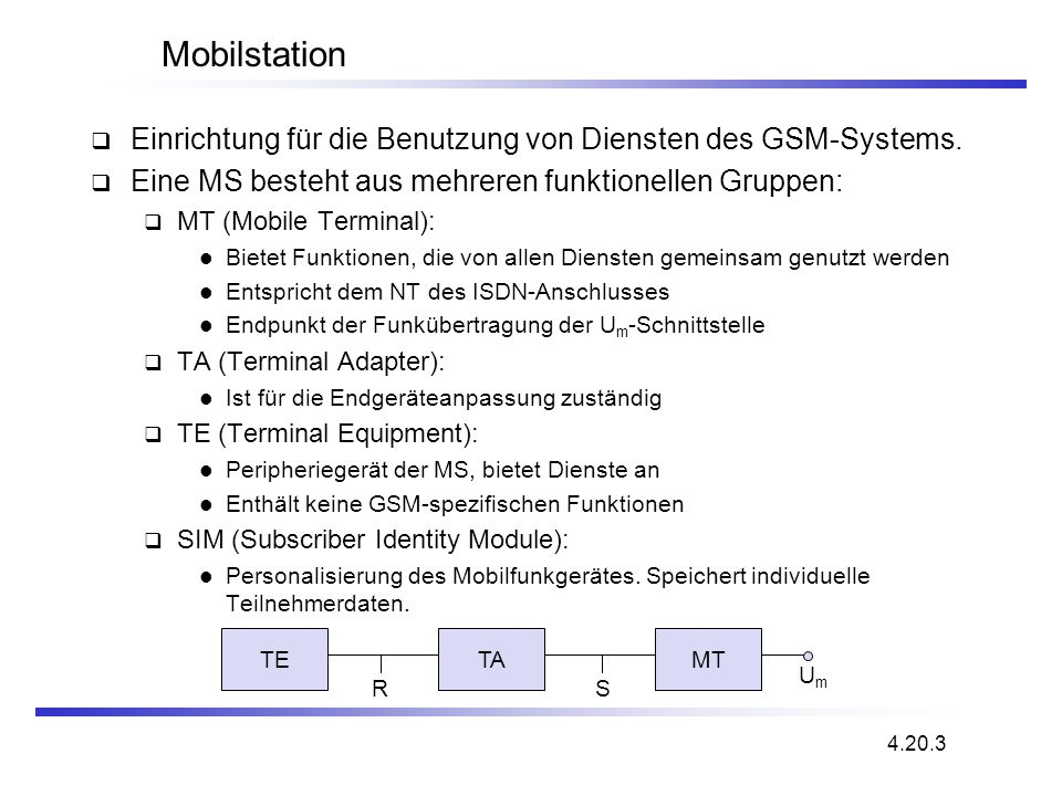 Mobilstation Einrichtung für die Benutzung von Diensten des GSM-Systems. Eine MS besteht aus mehreren funktionellen Gruppen: