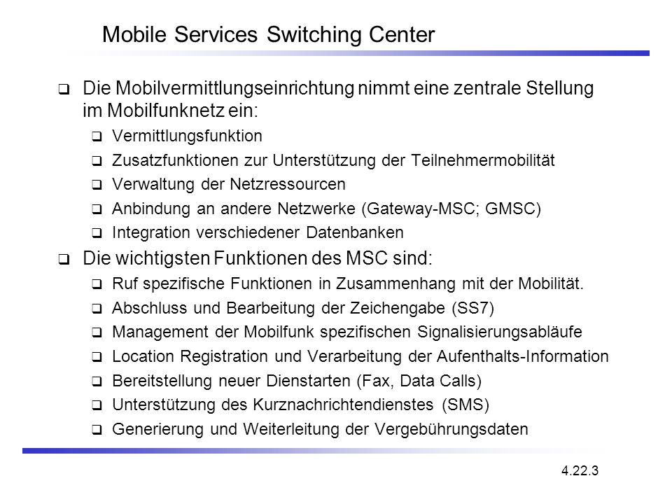 Mobile Services Switching Center