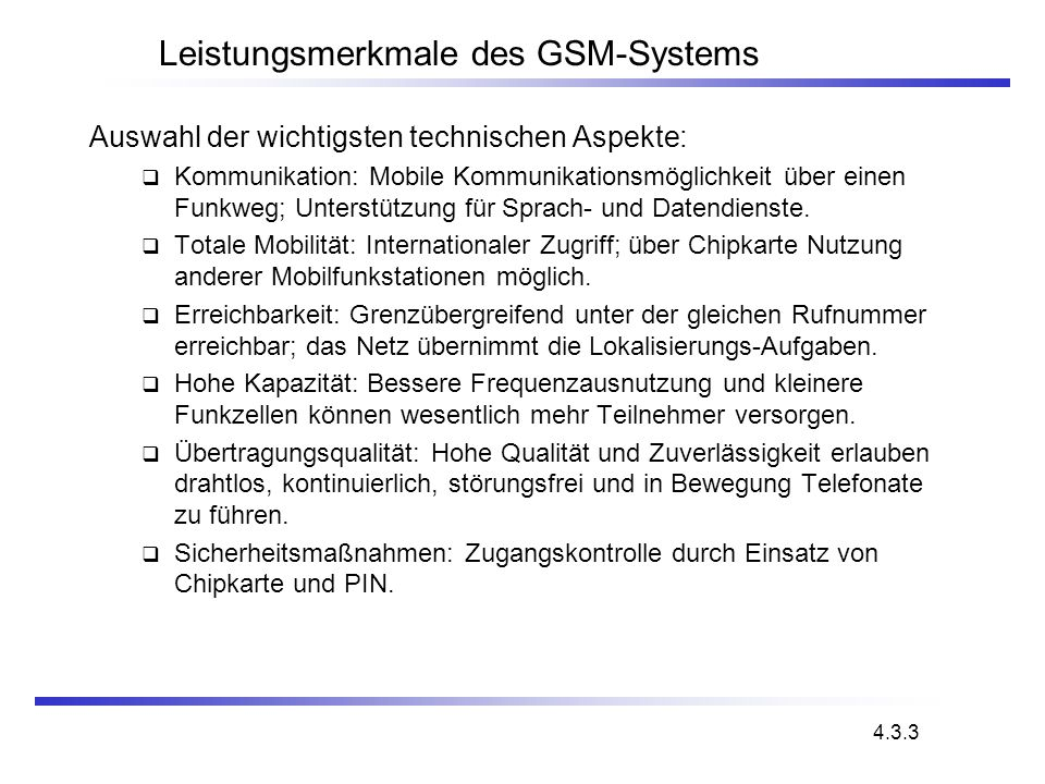 Leistungsmerkmale des GSM-Systems