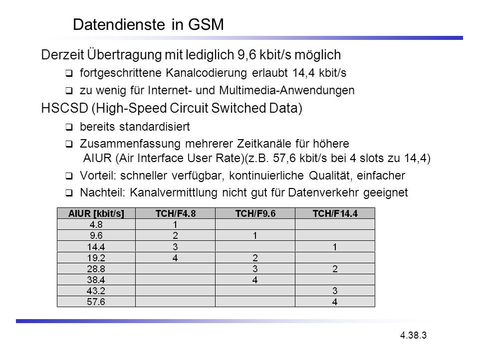 Datendienste in GSM Derzeit Übertragung mit lediglich 9,6 kbit/s möglich. fortgeschrittene Kanalcodierung erlaubt 14,4 kbit/s.