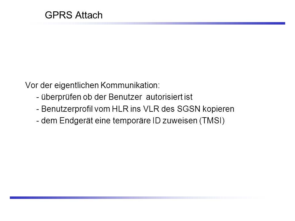GPRS Attach Vor der eigentlichen Kommunikation:
