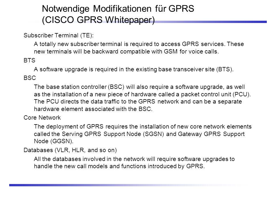 Notwendige Modifikationen für GPRS (CISCO GPRS Whitepaper)