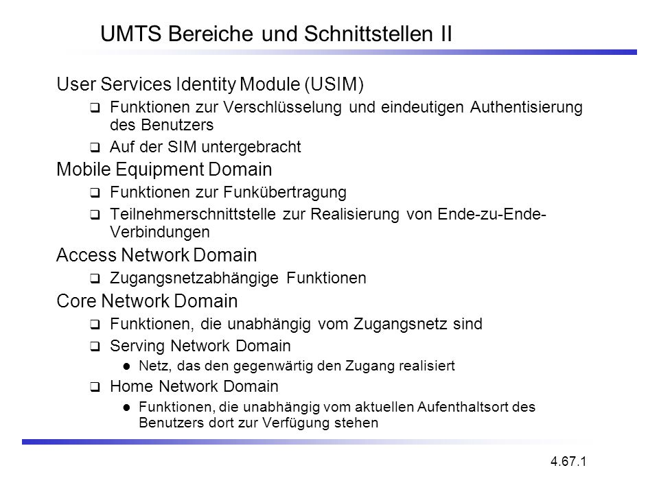 UMTS Bereiche und Schnittstellen II