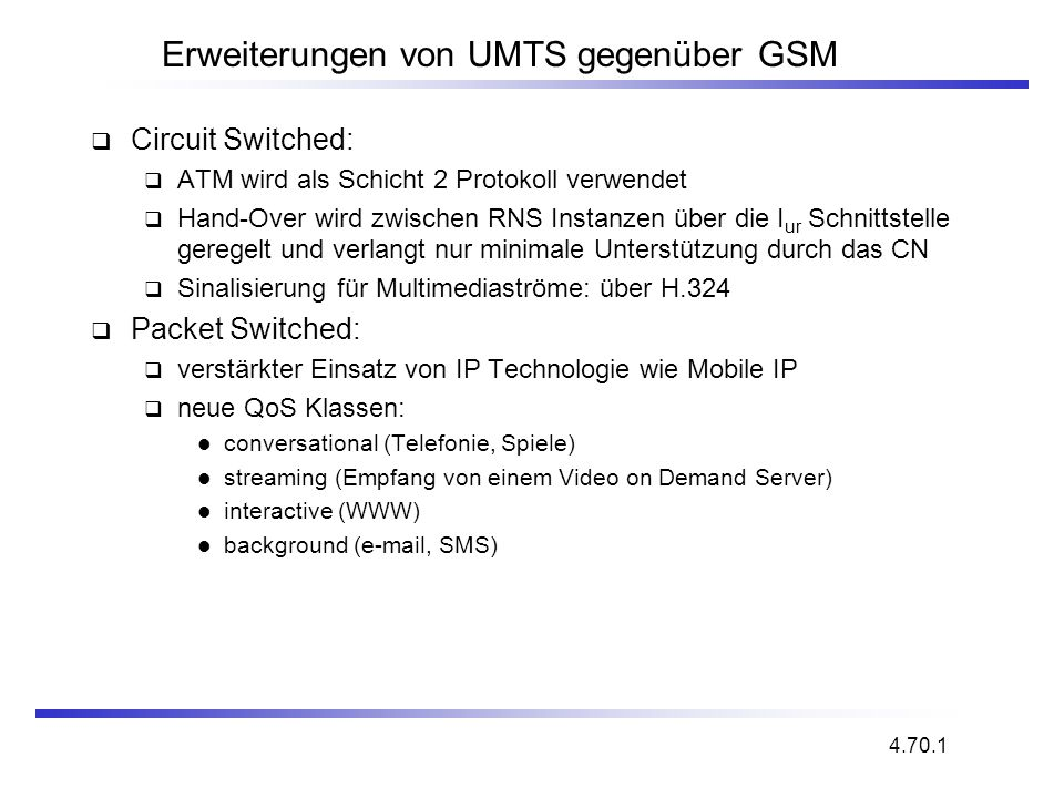 Erweiterungen von UMTS gegenüber GSM